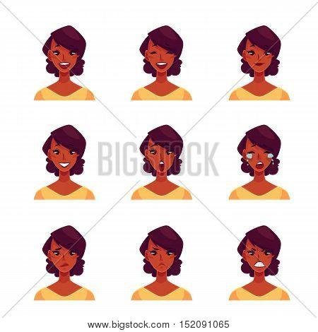African girl face expression, set of cartoon vector illustrations isolated on white background. Black woman emoji face icons, human expressions, set of female avatars with different emotions
