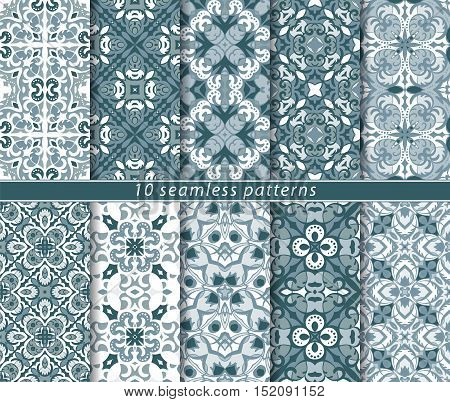 Vector set of ten delicate blue and white seamless patterns. Classic ornaments in Oriental style. Vector illustration.