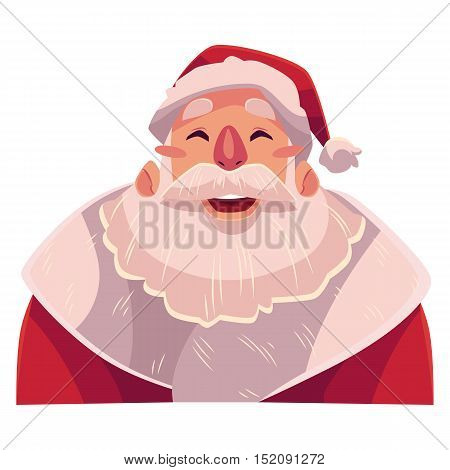 Santa Claus face, laughing facial expression, cartoon vector illustrations isolated on gray background. Santa Claus emoji laughing out load with closed eyes and open mouth. Laughing face expression