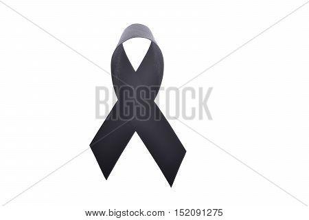 Black ribbon, black ribbon for mourning isolateed on white background