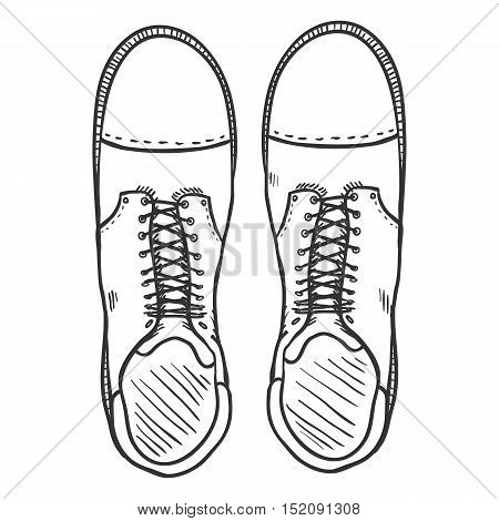 Vector Sketch Illustration - High Leather Army Boots. Top View