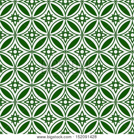 Abstract ethnic geometric vector green seamless pattern on on a light background . EPS 10.