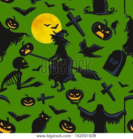 witch on a broomstick under a full moon with skeletons and pumpkins to the cemetery where the crows fly over the crosses vector illustration