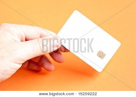 A man holding a blank smart card