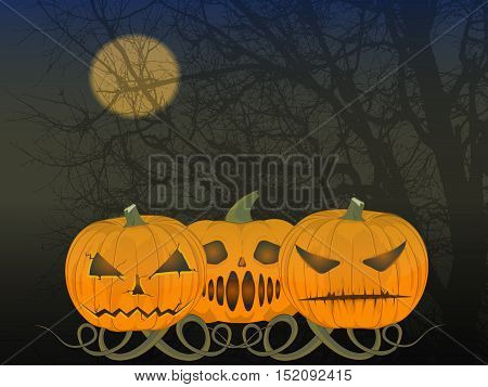 party Halloween. vector illustration. the old poster. three angry pumpkins. the moon and tree