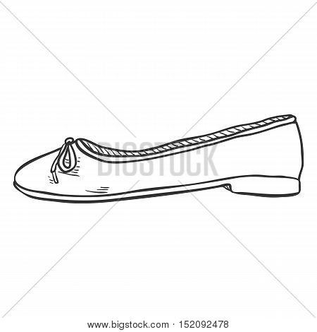 Vector Sketch Illustration - Pair Of Women Ballet Flats. Side View