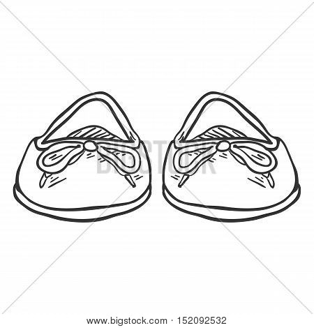 Vector Sketch Illustration - Pair Of Women Ballet Flats. Front View
