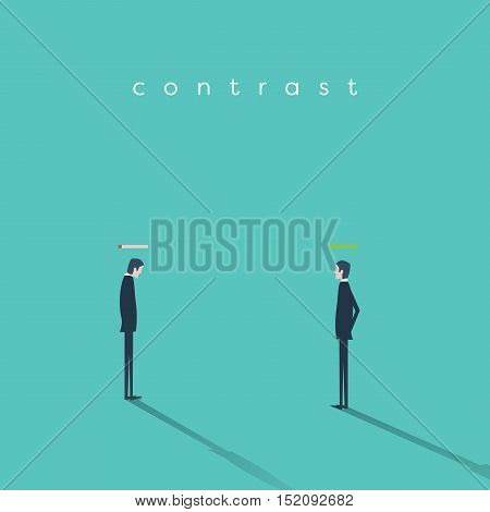 Burnout syndrome vs high energy businessman vector business concept. Eps10 vector illustration.