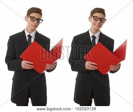Set of cute teenager boy in back business suit with red folder over white isolated background, half body, future career concept