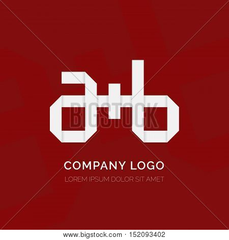 Creative letter A plus B vector logo design. Vector sign. Character logotype symbols. Logo icon design. Origami letters