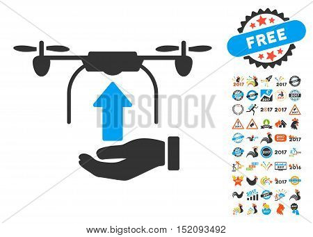 Send Drone Hand pictograph with bonus 2017 new year clip art. Vector illustration style is flat iconic symbols, blue and gray colors, white background.