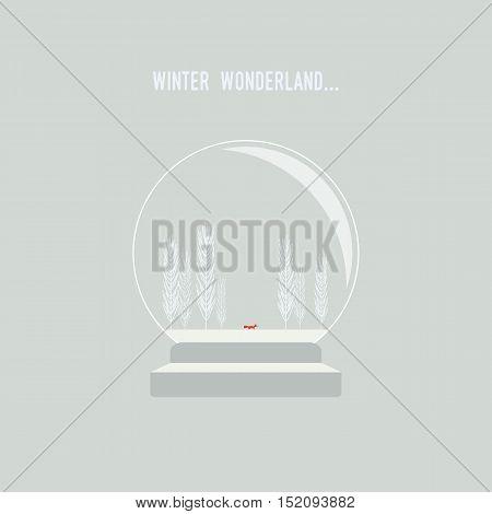 Snow globe with christmas winter landscape vector background. Fox walking in frozen wonderland. Eps10 vector illustration.