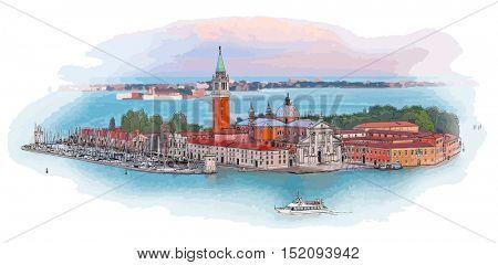 Venice - Island of San Giorgio Maggiore. Color drawing