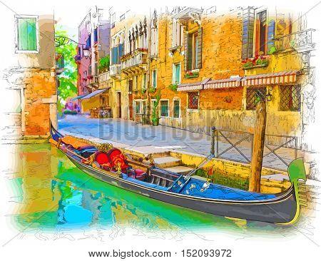 Venice - Calle Fondamenta Megio. Ancient building & gondola. Color drawing