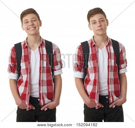 Set of cute teenager boy in red checkered shirt with school bag and hands in pockets over white isolated background, half body, as school, education concept