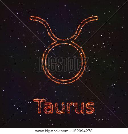 Astrology Shining Symbol. Horoscope Sign. Zodiac Taurus.