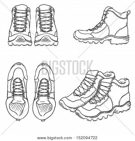 Vector Set Of Sketch Hiking Boots. Side, Front And Top View
