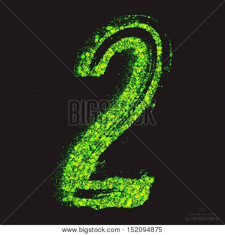 Vector grunge toxic font 001. Number 2. Abstract acid scatter glowing bright green color particles background. Radioactive waste. Zombie apocalypse. Grungy shape. Hand made design element