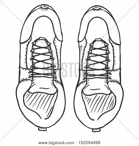 Vector Sketch Illustration - Extreme Hiking Boots. Top View