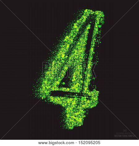 Vector grunge toxic font 001. Number 4. Abstract acid scatter glowing bright green color particles background. Radioactive waste. Zombie apocalypse. Grungy shape. Hand made design element