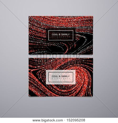 Greeting, invitation or business cards design template with swirled glittering stripes. Vector illustration of red ruby glitter background. Marble or acrylic texture imitation.