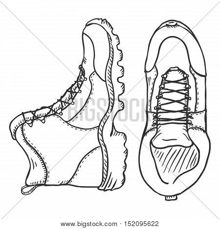 Vector Sketch Illustration - Extreme Hiking Boots. Side And Top View