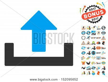 Upload pictograph with bonus 2017 new year clip art. Vector illustration style is flat iconic symbols, blue and gray colors, white background.