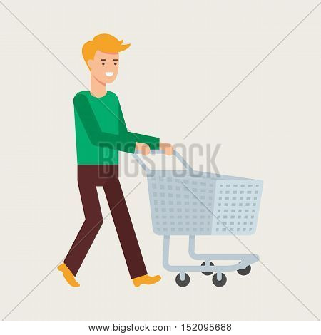Vector illustration of a man with an empty shopping cart