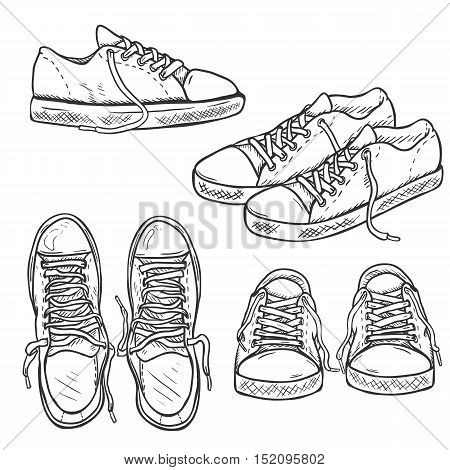 Vector Set Of Sketch Gumshoes. Side, Top And Front Views.