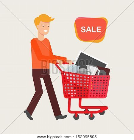 Sale concept. Vector illustration of a man with a shopping cart full of electronic devices