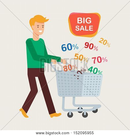 Vector illustration of a man with a shopping cart. Big sale concept