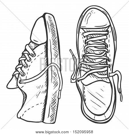 Vector Sketch Illustration - Pair Of Casual Gumshoes. Top And Side View