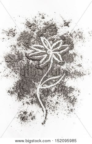 Flower drawing illustration concept in ash dust dirt as dead wilted