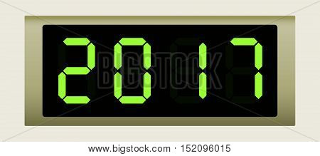 Electronic scoreboard with the number 2017. Vector illustration.