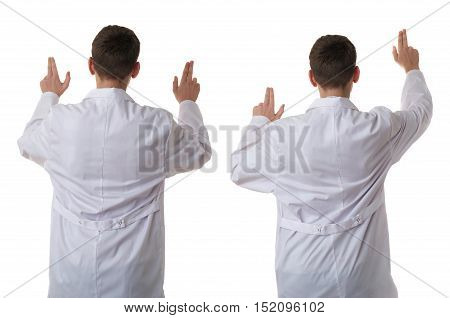 Set of cute teenager boy wearing white lab medic coat working on virtual screen over white isolated background as science, medicine, healthcare concept, back rear view