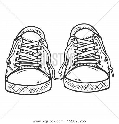 Vector Sketch Illustration - Pair Of Casual Gumshoes. Front View
