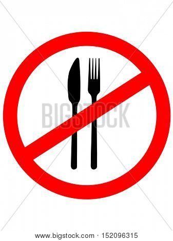 No Eating Sign. No food. Vector illustration.Prohibition sign icon.
