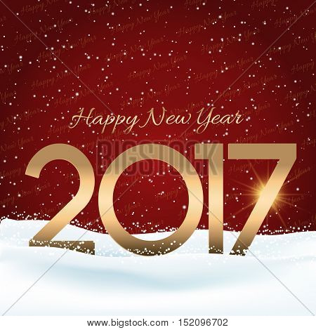 Happy New Year background with numbers nestled in snow