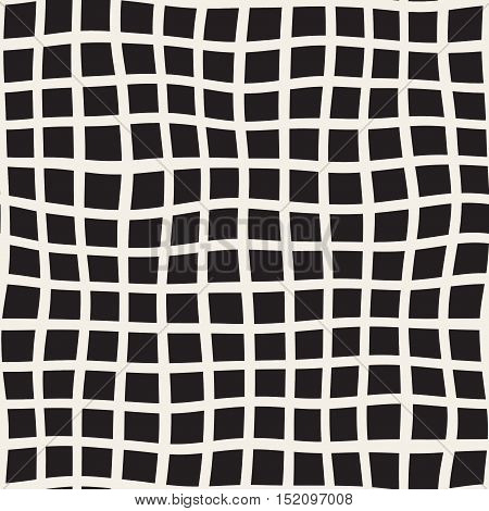 Vector Seamless Black and White Distorted Square Lines Pattern. Abstract Geometric Background Design