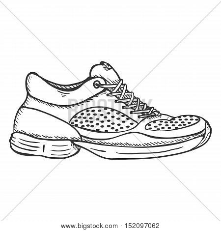 Vector Sketch Illustration - Side View Running Shoes