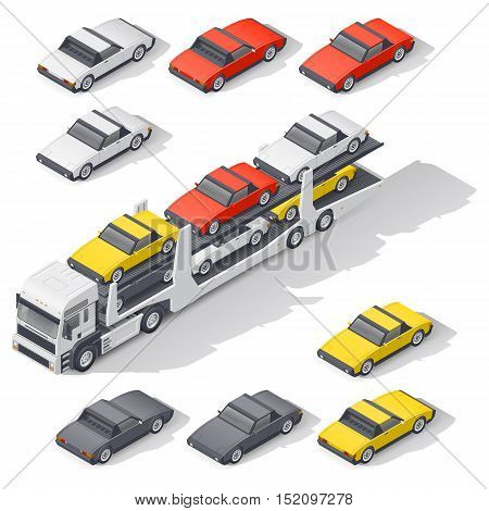 Transportation of vehicles loaded on board the car carrier detailed isometric icon set vector graphic illustration