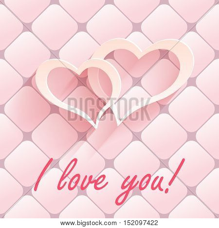 Valentine s day abstract background with cut paper heart. Vector illustration