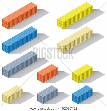 Forty-foot twenty-foot sea containers of different colors detailed isometric icons set vector graphic illustration design