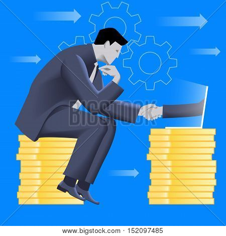 Deal over internet business concept. Pensive businessman in business suit sits on top of pile of coins and shakes hand of another businessman coming from laptop. Vector illustration.