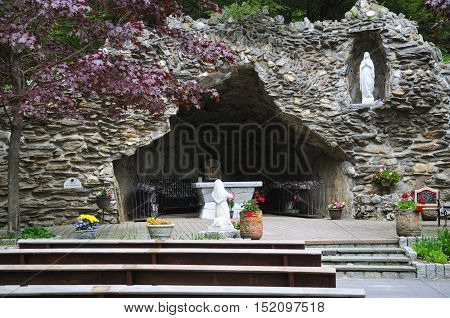 The grotto at the Lady of the Lourdes shrine in Litchfield connecticut