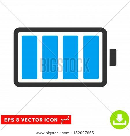 Battery EPS vector pictograph. Illustration style is flat iconic bicolor blue and gray symbol on white background.