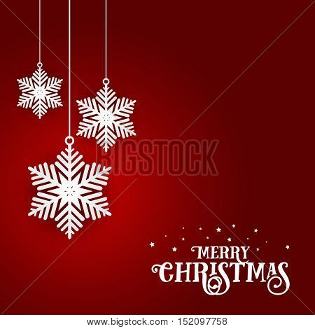 Decorative Christmas background with hanging snowflakes