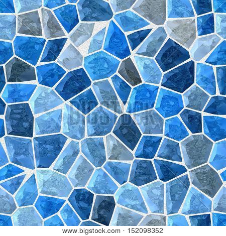 blue colored abstract marble irregular plastic stony mosaic pattern texture seamless background with gray grout