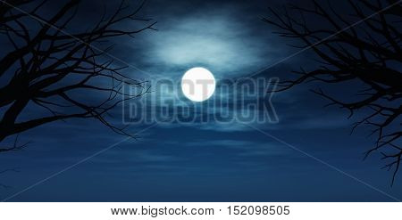 3D render of a spooky night sky with tree silhouettes