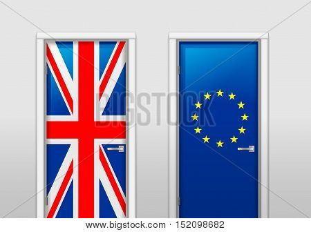Illustration of the door with signs UK and EU flags in the subject of the referendum on withdrawal from the association. Brexit